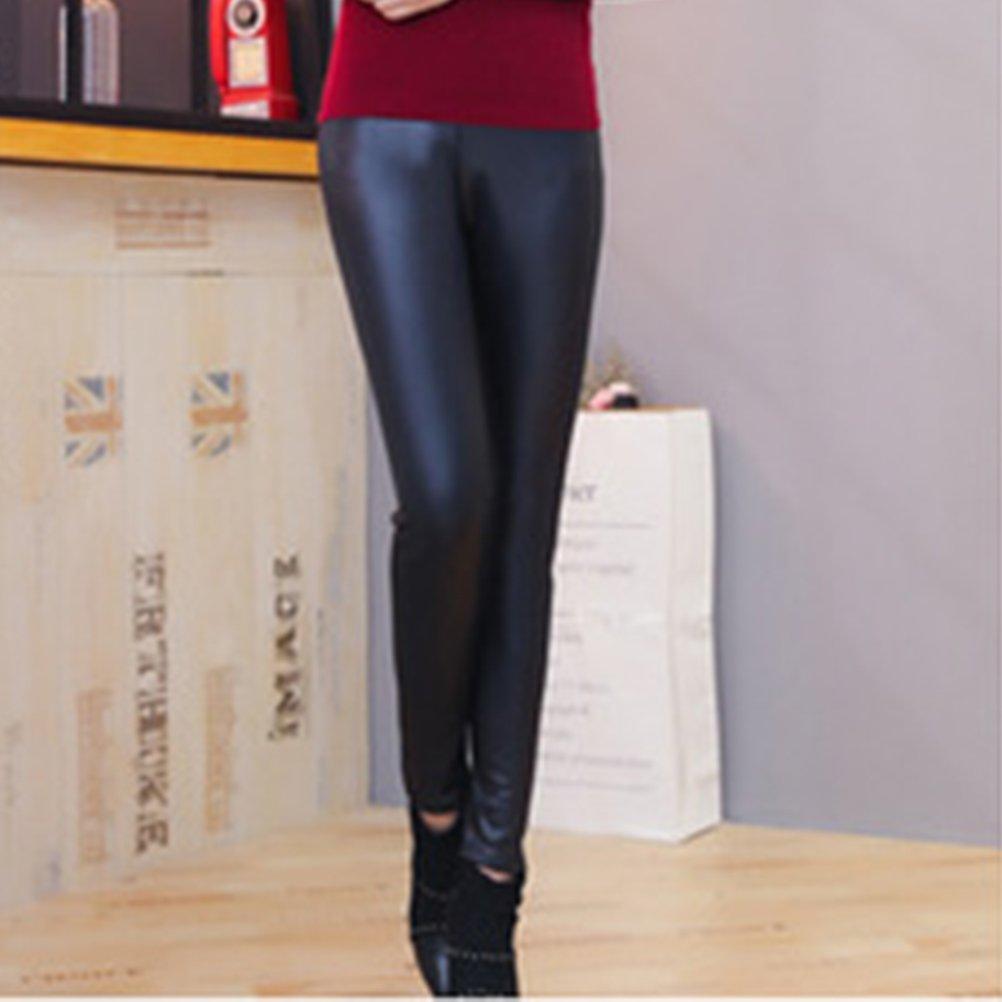 Leggings ecopelle donna OULII Pantaloni in pelle elasticizzati con fodera in pile spessi per inverno