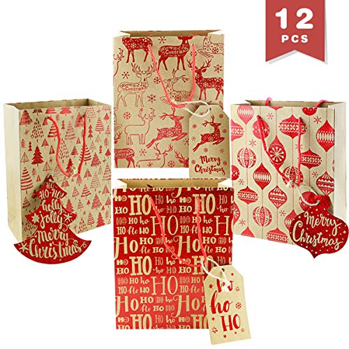 WTSHOP 12 Pack Printed KIraft Paper Bag,Red Christmas Holiday Party Gift Favor Treats Bags,Reindeer Pattern Kraft Rustic Gift Bags,4 Patterns]()