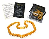 Raw Baltic Amber Teething Necklaces For Babies (Unisex) - Anti Flammatory, Drooling & Teething Pain Reduce Properties - UNPOLISHED Natural.