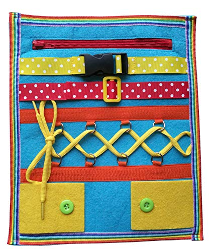 Yoovi Montessori Learn to Dress Boards Toddler Felt Busy Board Kids Quiet Boards Baby Educational Travel Toys - Zip,Button, Buckle, Lace, Early Learning Basic Life Skills Soft Toy]()