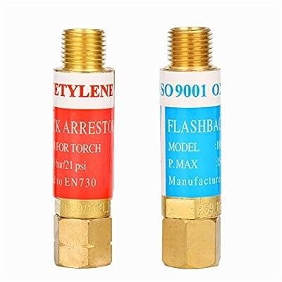 8milelake Oxygen Acetylene Flashback Arrestor Set Regulator End 9/16 -18 Threads B Size