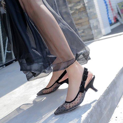 Alla nero Fine tacco aguzza Da AJUNR tacco Moda Donna Baotou 35 Sexy punta 38 scarpe 6cm Fashion Sandali Scarpe 7w7Oftq