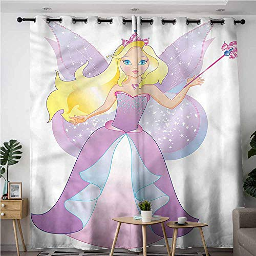 (AndyTours Blackout Curtains,Princess Faerie Wings Magic Wand,Energy Efficient, Room Darkening,W84x84L)