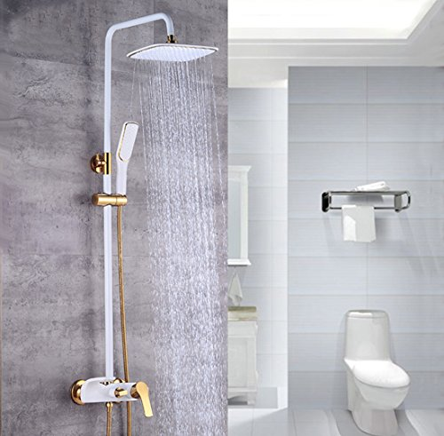 Ceramic White Sprinkle European Light Luxury Bathroom Baking Paint Gilt Into The Wall-Type Lifting And Adjusting Environmental Protection Rain Shower Set