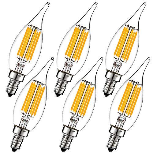 - LiteHistory Dimmable Candelabra led Bulbs 60W e12 6W Chandelier Light Bulbs 2700K ac120v b10 led ceililng Fan Light Bulbs 600lm Vintage e12 Edison Bulb Clear Flame tip b11 led Bulb 6Pack