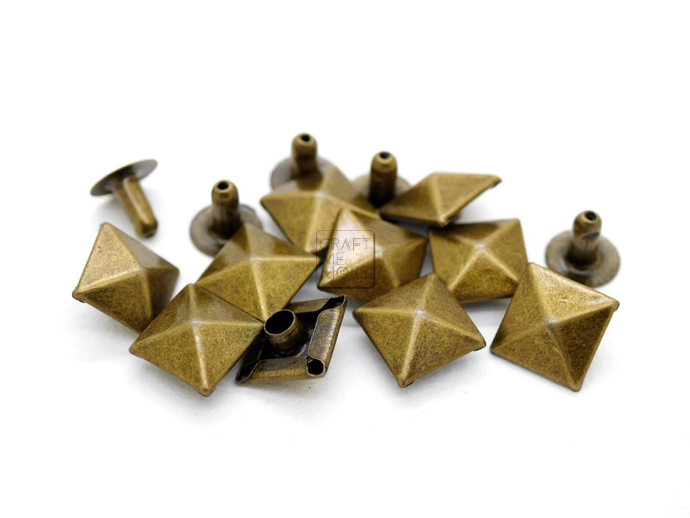CRAFTMEmore 100pcs Multi-Size Antique Brass PYRAMID Rapid Rivet Studs Glam Rock Biker Nailheads Leathercraft Decorations (7 MM) HQR160