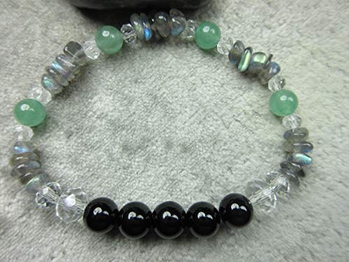 Genuine Green Aventurine, Black Tourmaline and Labradorite Healing Bracelet