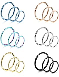 18Pcs 20G 316L Stainless Steel Nose Ring Hoop Cartilage Hoop Septum Piercing 6-12mm