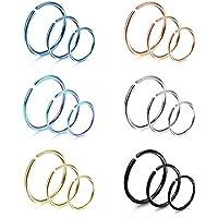 LOYALLOOK 18Pcs 20G 316L Stainless Steel Nose Ring Hoop Cartilage Hoop Septum Piercing 6-12mm
