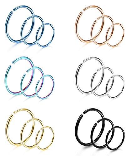 LOYALLOOK 18Pcs 20G 316L Stainless Steel Nose Ring Hoop Cartilage Hoop Septum Piercing 8mm,10mm,12mm