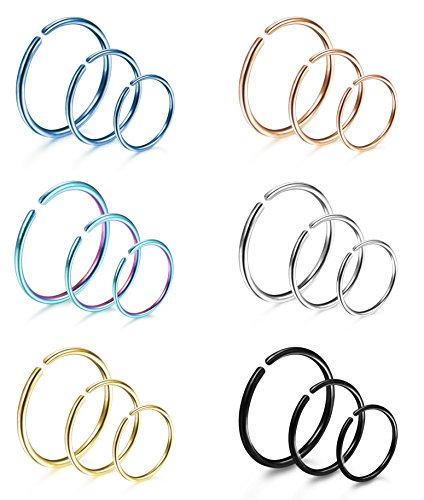 LOYALLOOK 18Pcs 20G 316L Stainless Steel Nose Ring Hoop Cartilage Hoop Septum Piercing 6mm,8mm,10mm