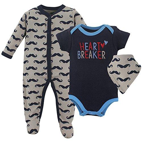 Luvable Friends Baby Sleeper, Bodysuit and Bandana Bib Set, Heart Breaker, 0-3 Months (3M)