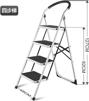LADDER Escalera Casa Doblez Interior Cargar Los Portes Estable Multifunción Ligero Sencillo en Pequeña Escala la Seguridad Aluminio Metal Escaleras Tramo Espesar Escalera/Blanco / 4 pasos: Amazon.es: Bricolaje y herramientas