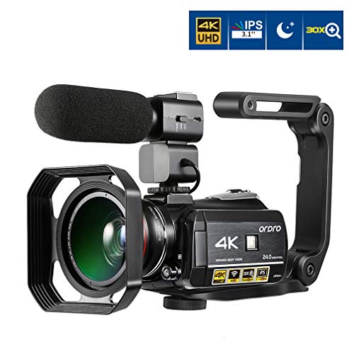 ORDRO 4K Ultra HD Camcorder with External Microphone Wide Angle Lens Hand Holder and Lens Hood