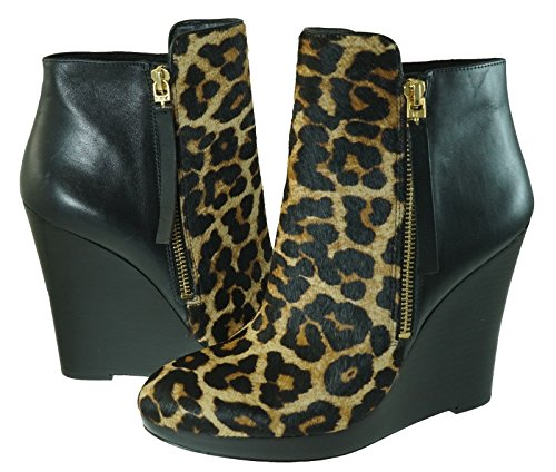 Michael Kors Clara Bootie Platform/Wedge Natural Cheetah Haircalf/Black Shoe Size 9 - Michael Kors Wedge Boots