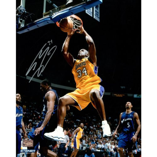 NBA Los Angeles Lakers Shaquille O'Neal Signed Two Handed Dunk in Gold Photograph, 16'' x 20'' by Steiner Sports
