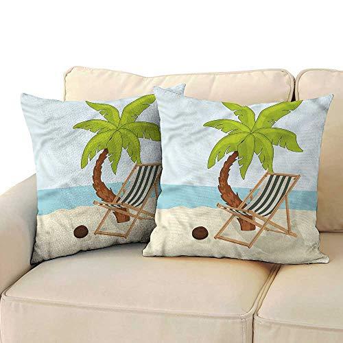 Opus Queen Bed - Ediyuneth Pillowcases Queen Size Beach,Cartoon Style Palm Tree 18