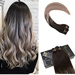 Ugeat 18inch Full Head 10Pcs 140Gram Clip Hair Extensions Human Hair Ombre Color #2 Fading to Ash Blonde Color 18 Clip in Hair Extensions