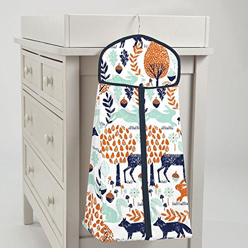 Carousel Designs Navy and Orange Woodland Diaper Stacker by Carousel Designs