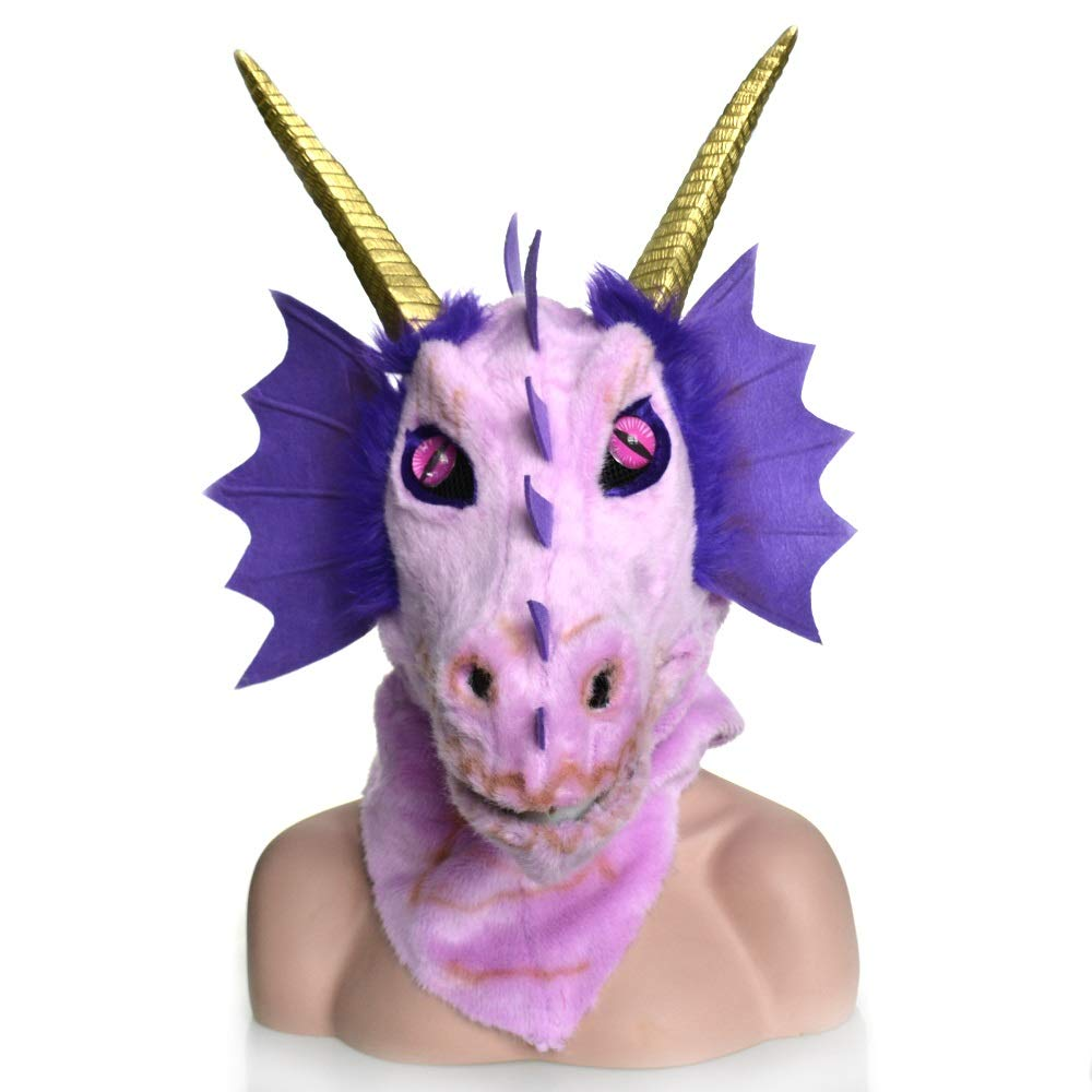 KX-QIN Custom Design Moving Mouth Blue Dragon Head Colorful Animal Fur Party mask Factory Deluxe Novelty Halloween Costume Party Latex Animal Head Mask for Adults and Kids (Color : Purple) by KX-QIN