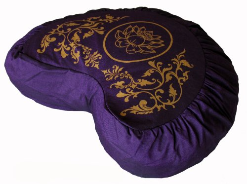 Meditation Cushion Crescent Zafu - Lotus Enlightenment - Purple
