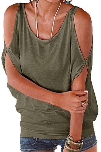 Women 's Summer Cold Shoulder Loose T - Shirt Armygreen
