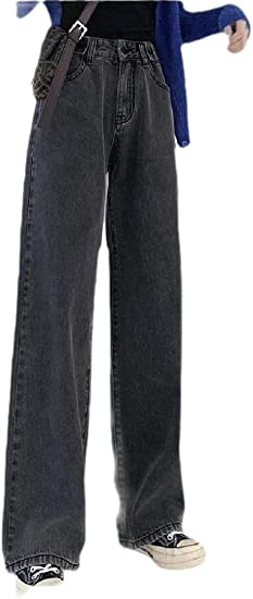 Keaac 女性のフリースラインストレートレッグジーンズ冬暖かいルーズフィット厚いデニムパンツ