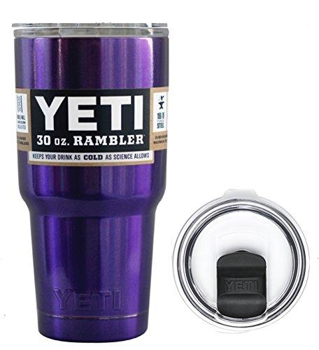 YETI Coolers 30 Ounce (30oz) (30 oz) Custom Rambler Tumbler Cup Mug Bundle with New Magslider Lid (Candy Metallic Purple)