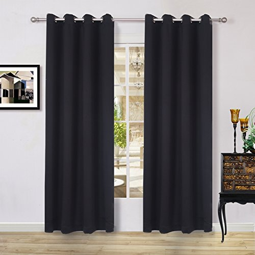 Lullabi Solid Thermal Blackout Window Curtain Drapery, Grommet, 84-inch Length by 54-inch Width, Black, (One Panel)
