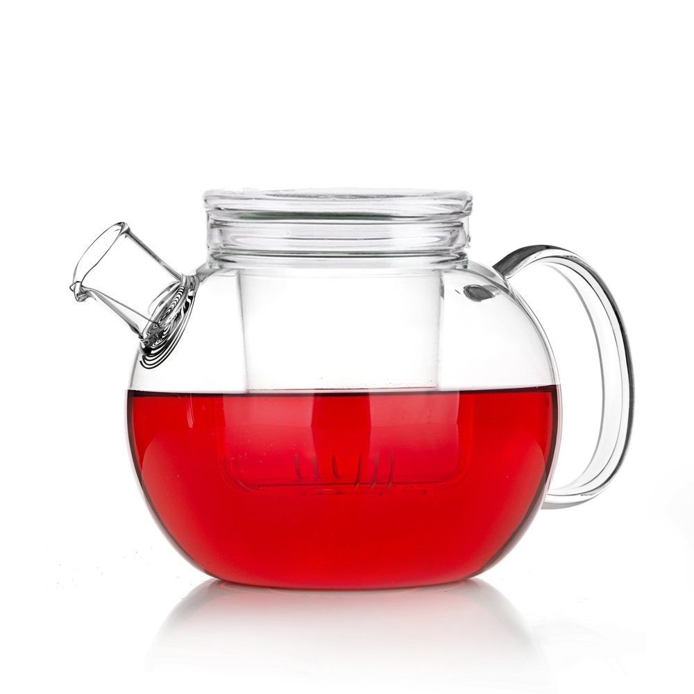 TAMUME 1200ml Mellow Style Round Glass Teapot with Glass Lid and Strainer (1200ml)