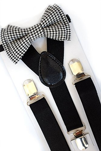 fee2dd0f9fc Amazon.com: SUSPENDER & BOW TIE Set. Sweetnswag Black and White ...