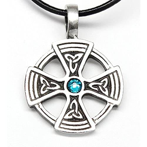 Pewter Solar Cross with Triquetra Pendant on Leather w/ Swarovski Crystal Teal Blue December Birthday