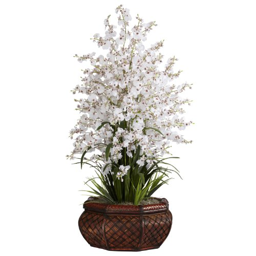 Nearly Natural 1244-WH Large Dancing Lady with Round Vase Silk Arrangement, White