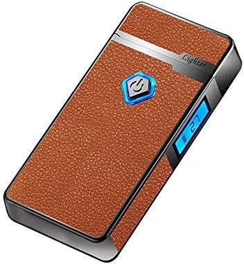 [WDMART] 電子ライター USBライター 充電ライター レザーライター 葉巻ライター 艾灸 艾条ライタープラズマ放電式 防風 軽量 薄型 残りのバッテリーを示すLED 誕生日プレゼント (ブラウン革模様)