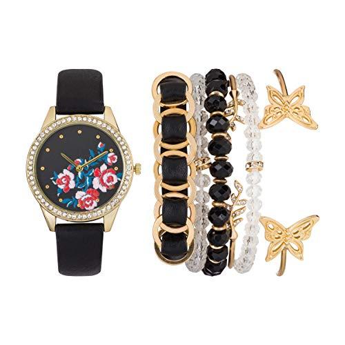 Jessica Carlyle Womens Quartz Black Analog Watch with Bangle Gift Set