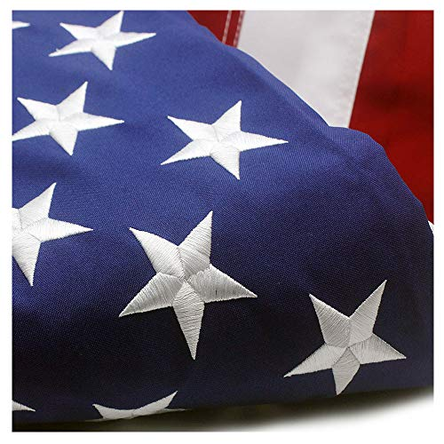 VSVO American Flag 3x5 ft - Durable Longer Lasting Spun Polyester 300D for Outdoor Use - UV Protected, Embroidered Stars, Sewn Stripes, Brass Grommets Outside US Flags. ()