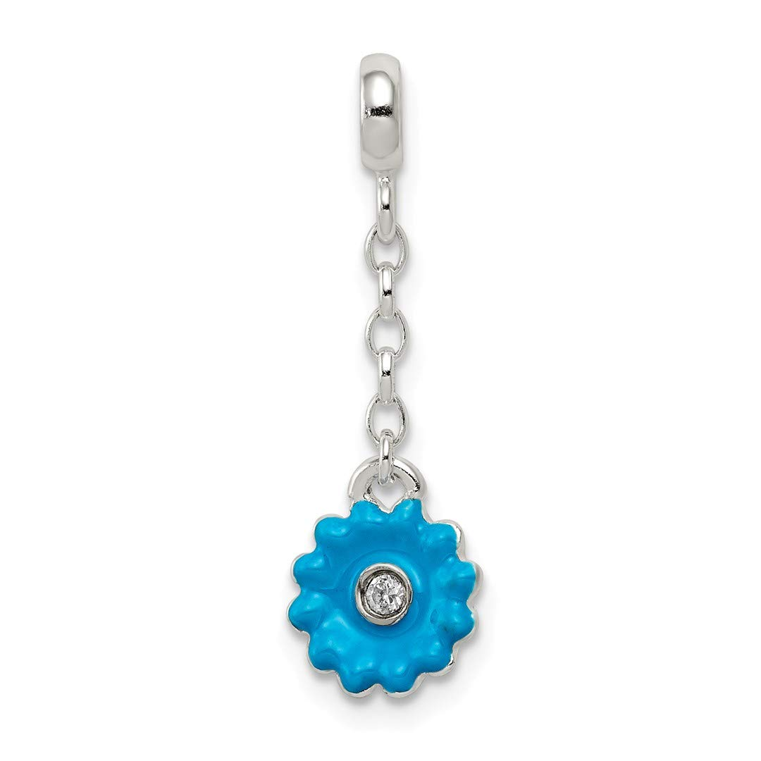 ICE CARATS 925 Sterling Silver Blue Enamel Flower Cubic Zirconia Cz 1/2in Dangle Enhancer Necklace Pendant Charm Gardening Fine Jewelry Ideal Gifts For Women Gift Set From Heart