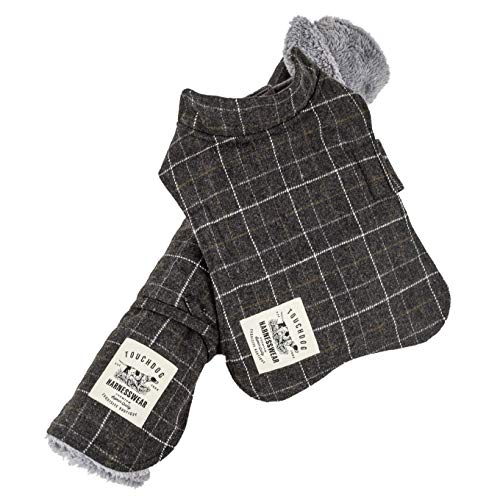 Touchdog 2-in-1 Windowpane Plaided Dog Jacket with Matching Reversible Dog Mat, Small, Grey