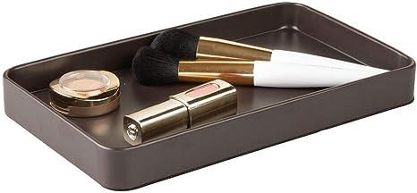 Amazon Com Mdesign Men S Women S Metal Storage Organizer Tray For Bathroom Vanity Countertops Closets Dressers Holder For Watch Change Keys Makeup Brushes Perfume Jewelry Eyeglasses Matte Brown Home Kitchen