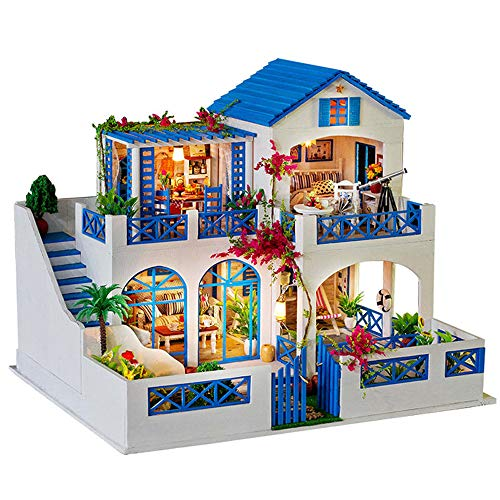 Hatop- DIY 3D Puzzle House Assemble Miniature Dollhouse LED Furniture Kit Decorate Educational Toy Large Size 42x34x32cm