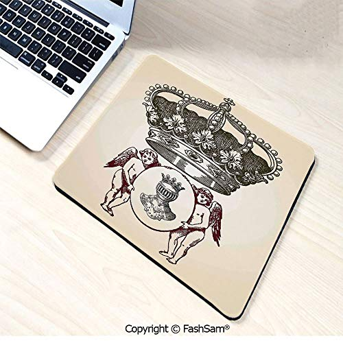 Agate Medallion - Non-Slip Rubber Mouse Pads Illustration Shield Design Art with Crest Badge Medallion Angel Royal for Computers Laptop Office(W9.85xL11.8)