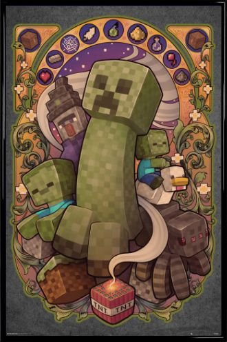 1art1 Minecraft Poster And Frame Plastic Creeper Nouveau 36 X 24 Inches