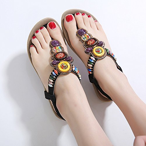 Retro Summer CN37 Colore 5 ZHIRONG B Shoes Clip Rhinestone dimensioni Donna Bohemian Beach EU37 Fondo 5 piatto UK4 D Toe Sandali 0tqtSwx4