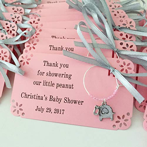 - 1 to 150 elephant themed wine charms for baby shower favors for guests. Elephant Decor for upcoming little peanut. 1 charm set. Fully customized.