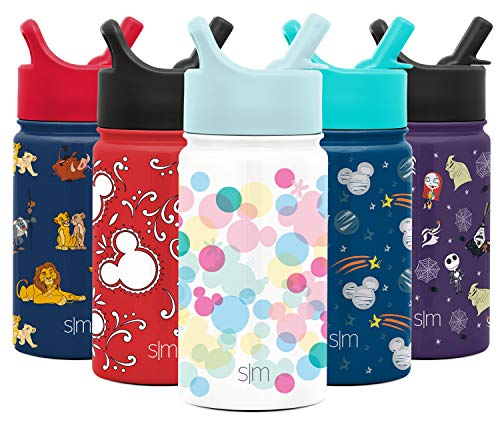 Simple Modern Kids Insulated Cup with Lid and Silicone Straw Stainless Steel Flask Metal Thermos for Toddlers Boys and Girls, 14oz Water Bottle, Mickey and Minnie Dreams
