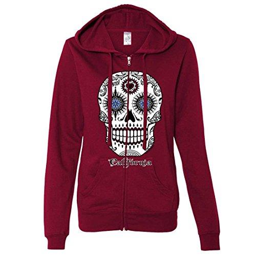 California Republic Sugar Skull Ladies Zip-Up Hoodie - Brick Red (Halloween Half Skull Makeup)