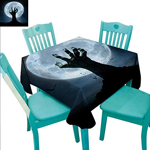 Halloween Decorative Textured Fabric Tablecloth Realistic Zombie Earth Soil Full Moon Bat Horror Story October Twilight Themed Waterproof/Oil-Proof/Spill-Proof Tabletop Protector 60
