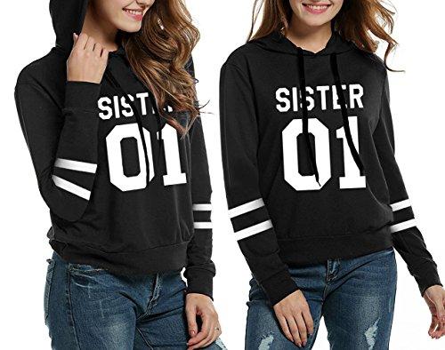 (Women's Hoodie Sister 2 Pack Best Friends Long Sleeve Teen Girls Hooded Cotton Sweatshirt Pullover Tops (Black,)