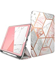 i-Blason fodral för iPad Air 3 10,5 tum 2019 [Cosmo] fullkropp trippel med inbyggt skärmskydd skyddande tredelat stående skyddsfodral med pennhållare och automatisk sömn/vakna (marmor)