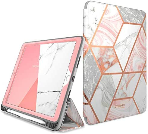 i-Blason Cosmo Case for iPad Air 3 10.5″ 2019 (third Gen) / iPad Professional 10.5 2017, [Built-in Screen Protector] Trifold Stand Protecting Case Cowl with Pencil Holder and Auto Sleep/Wake, Marble, 10.5″